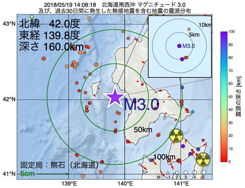 地震震源マップ:2018年05月19日 14時08分 北海道南西沖でM3.0の地震