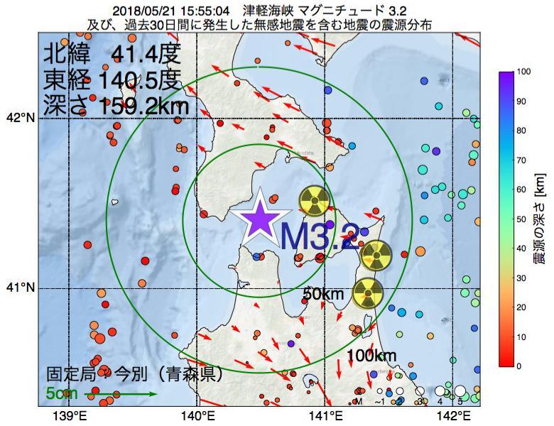 地震震源マップ:2018年05月21日 15時55分 津軽海峡でM3.2の地震