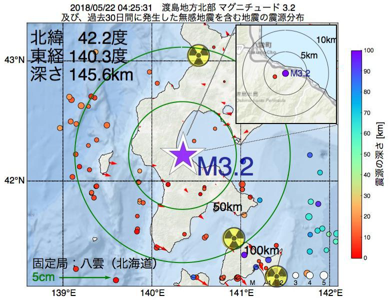 地震震源マップ:2018年05月22日 04時25分 渡島地方北部でM3.2の地震