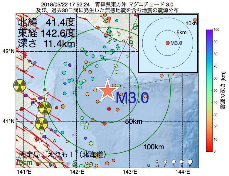 地震震源マップ:2018年05月22日 17時52分 青森県東方沖でM3.0の地震