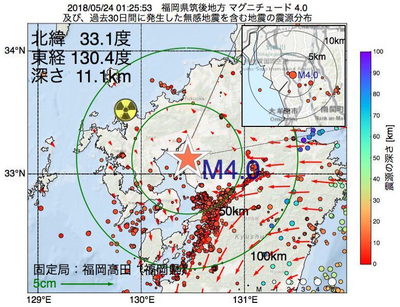 地震震源マップ:2018年05月24日 01時25分 福岡県筑後地方でM4.0の地震