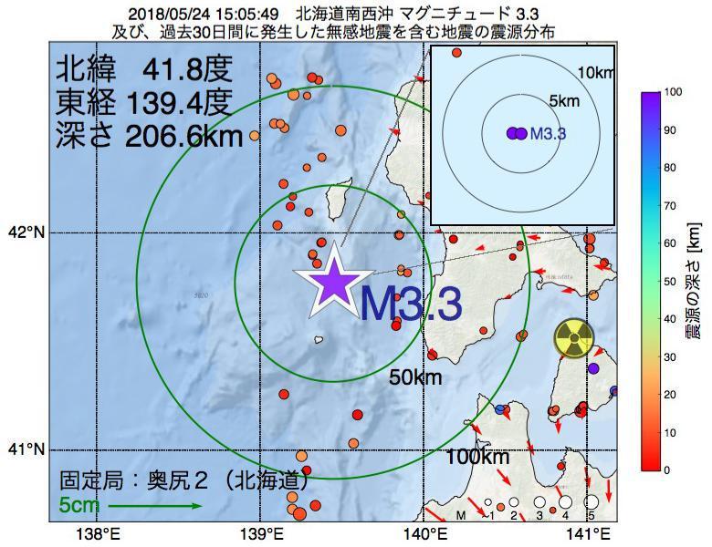 地震震源マップ:2018年05月24日 15時05分 北海道南西沖でM3.3の地震