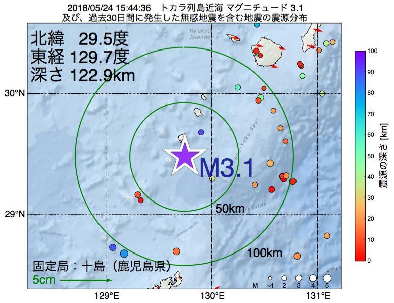 地震震源マップ:2018年05月24日 15時44分 トカラ列島近海でM3.1の地震