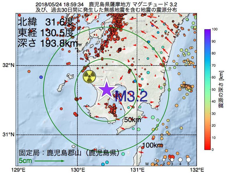 地震震源マップ:2018年05月24日 18時59分 鹿児島県薩摩地方でM3.2の地震