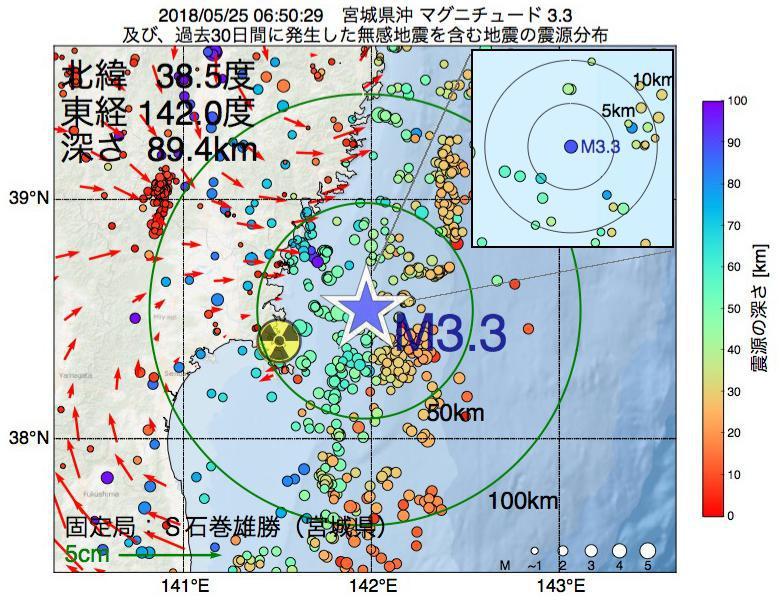 地震震源マップ:2018年05月25日 06時50分 宮城県沖でM3.3の地震