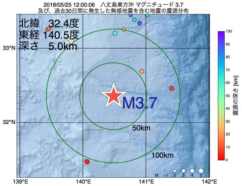 地震震源マップ:2018年05月25日 12時00分 八丈島東方沖でM3.7の地震