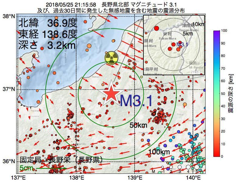 地震震源マップ:2018年05月25日 21時15分 長野県北部でM3.1の地震