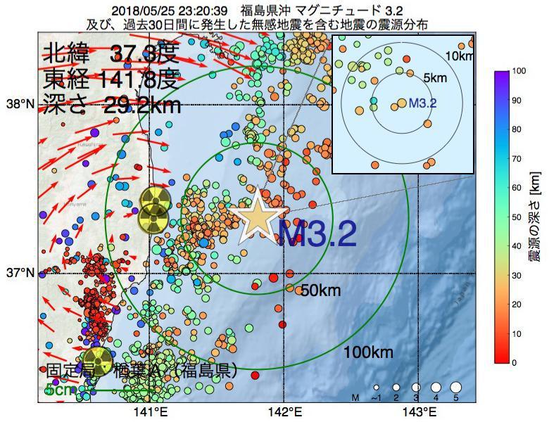 地震震源マップ:2018年05月25日 23時20分 福島県沖でM3.2の地震