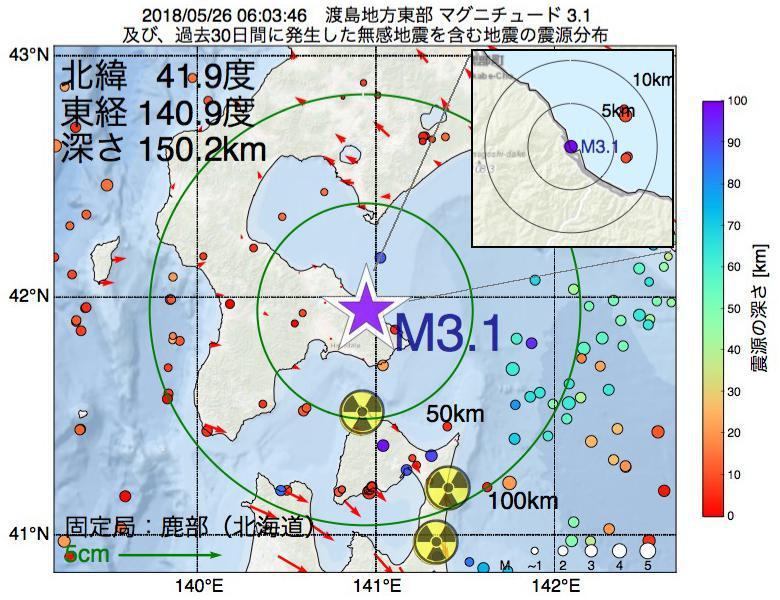地震震源マップ:2018年05月26日 06時03分 渡島地方東部でM3.1の地震