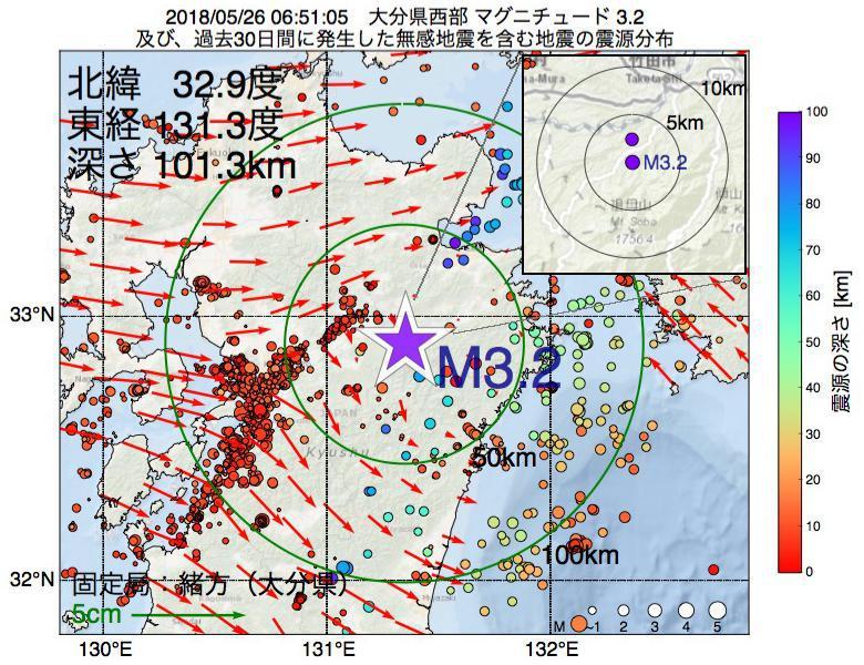 地震震源マップ:2018年05月26日 06時51分 大分県西部でM3.2の地震