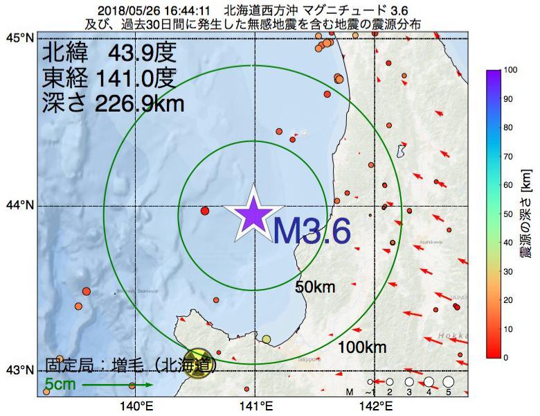 地震震源マップ:2018年05月26日 16時44分 北海道西方沖でM3.6の地震