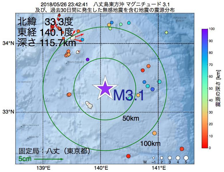 地震震源マップ:2018年05月26日 23時42分 八丈島東方沖でM3.1の地震