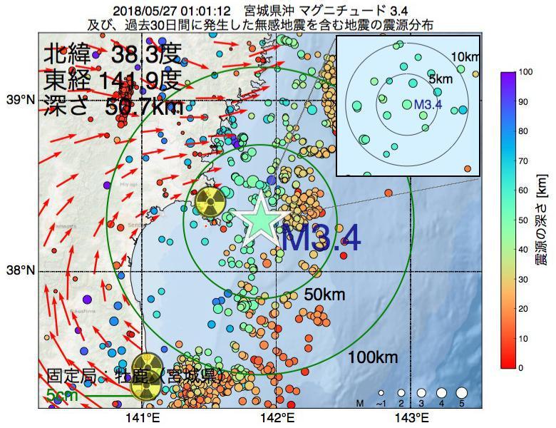 地震震源マップ:2018年05月27日 01時01分 宮城県沖でM3.4の地震