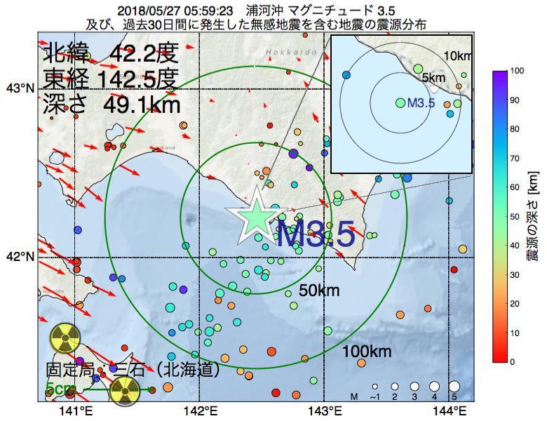 地震震源マップ:2018年05月27日 05時59分 浦河沖でM3.5の地震