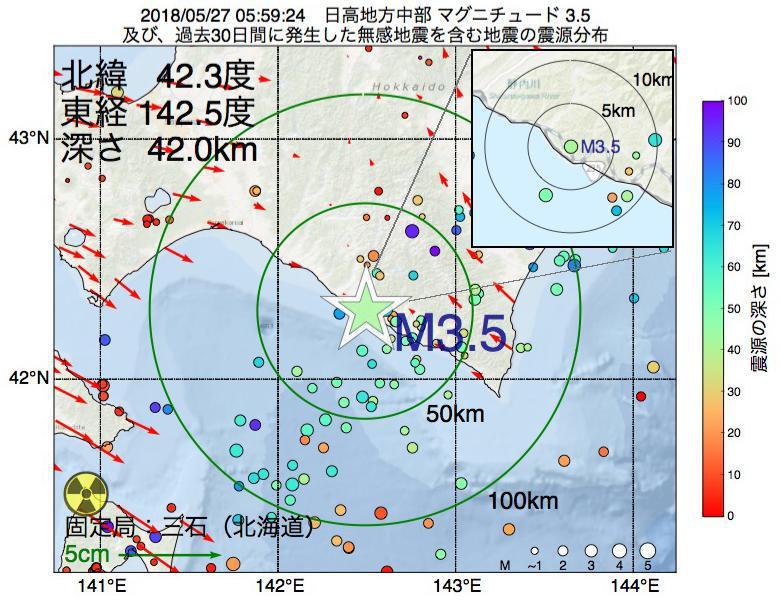 地震震源マップ:2018年05月27日 05時59分 日高地方中部でM3.5の地震
