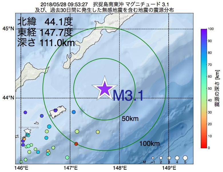 地震震源マップ:2018年05月28日 09時53分 択捉島南東沖でM3.1の地震