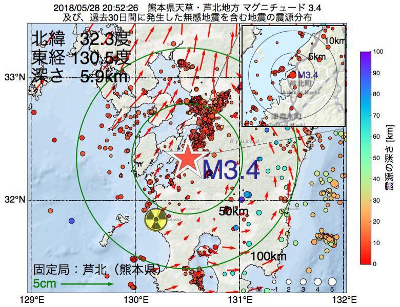 地震震源マップ:2018年05月28日 20時52分 熊本県天草・芦北地方でM3.4の地震