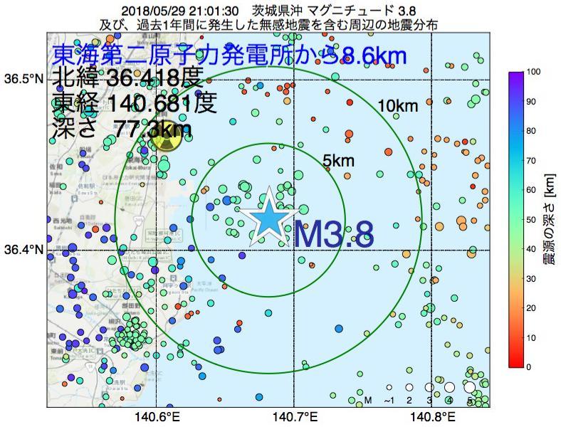 地震震源マップ:東海第二原子力発電所から8.6km地点でM3.8の地震が発生しました