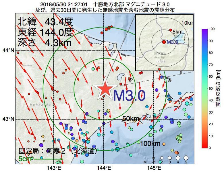 地震震源マップ:2018年05月30日 21時27分 十勝地方北部でM3.0の地震