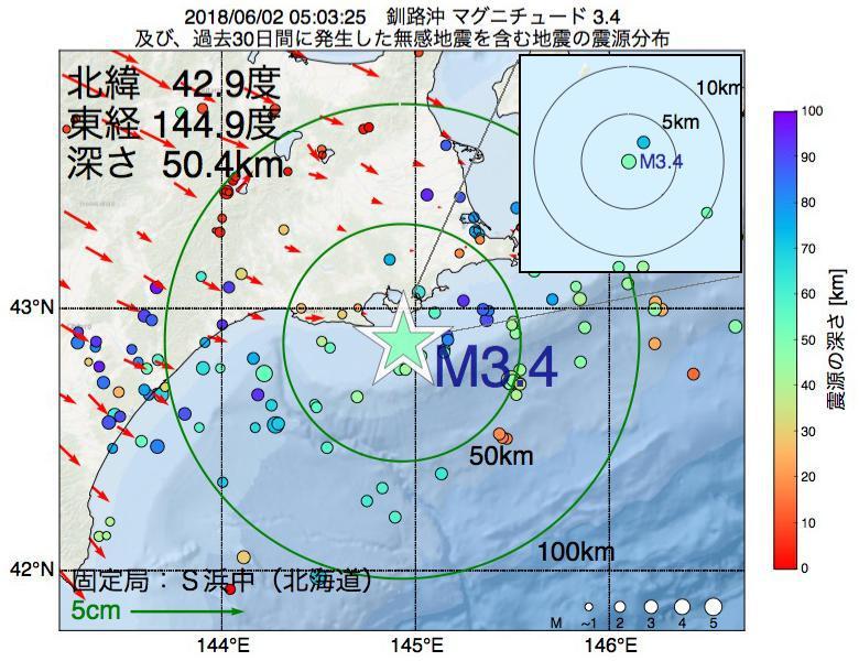 地震震源マップ:2018年06月02日 05時03分 釧路沖でM3.4の地震