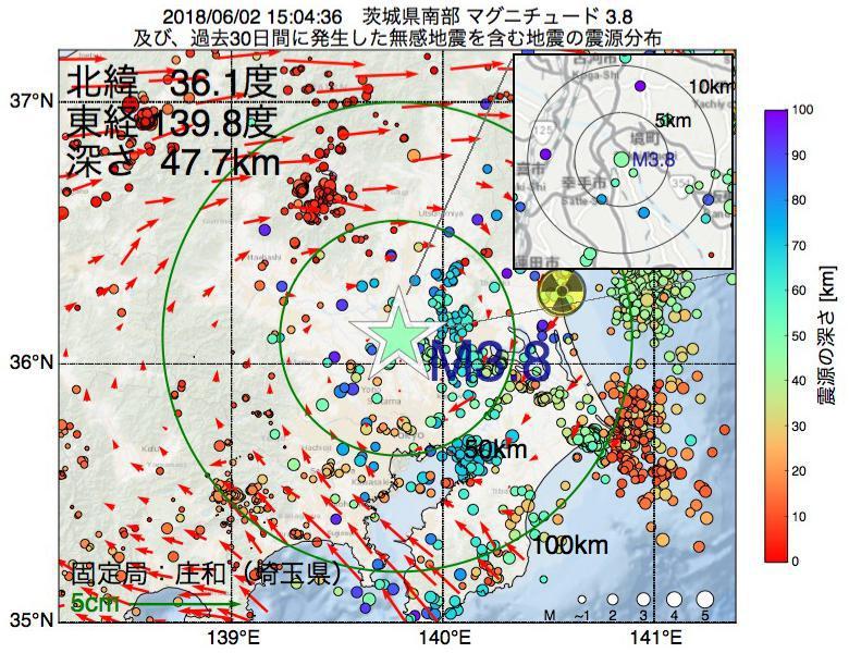 地震震源マップ:2018年06月02日 15時04分 茨城県南部でM3.8の地震