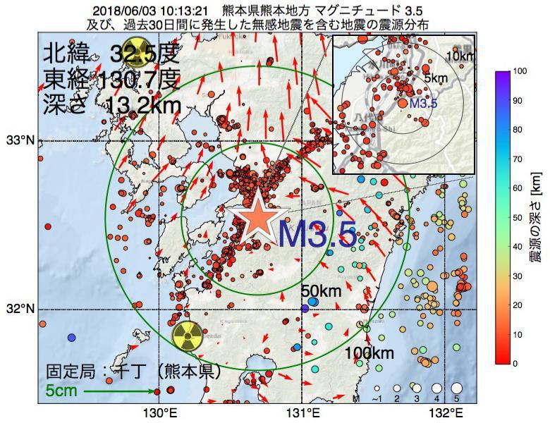 地震震源マップ:2018年06月03日 10時13分 熊本県熊本地方でM3.5の地震