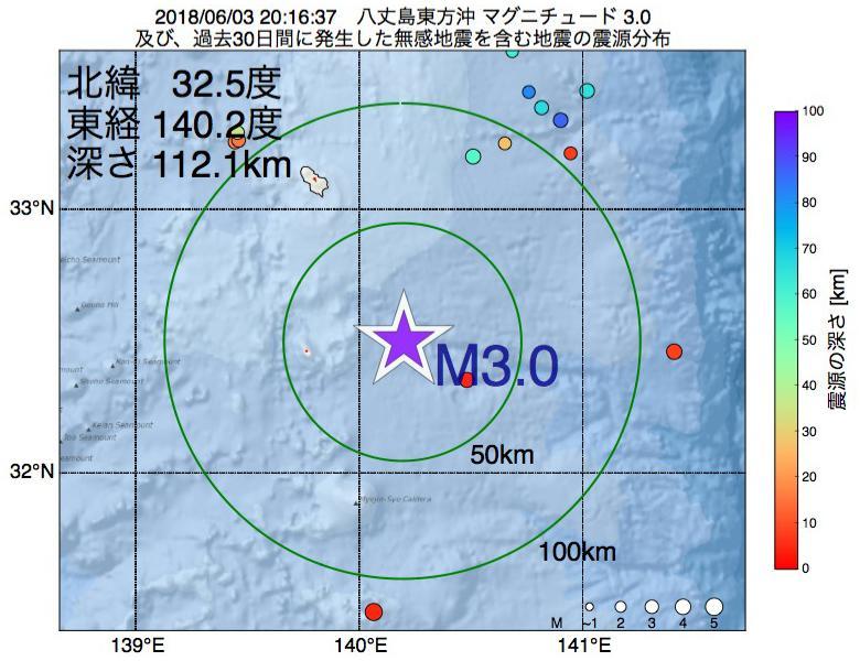 地震震源マップ:2018年06月03日 20時16分 八丈島東方沖でM3.0の地震