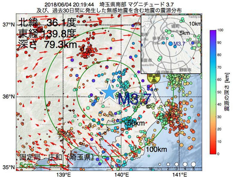 地震震源マップ:2018年06月04日 20時19分 埼玉県南部でM3.7の地震
