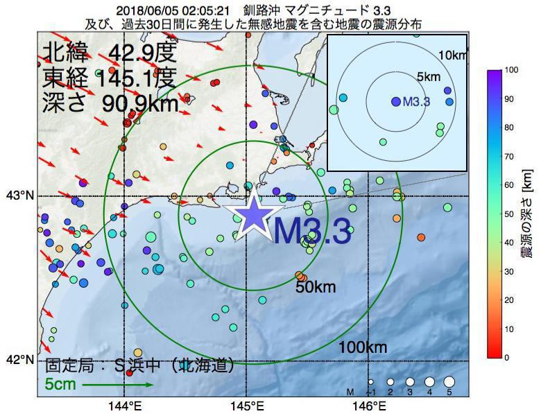 地震震源マップ:2018年06月05日 02時05分 釧路沖でM3.3の地震