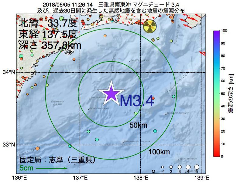 地震震源マップ:2018年06月05日 11時26分 三重県南東沖でM3.4の地震