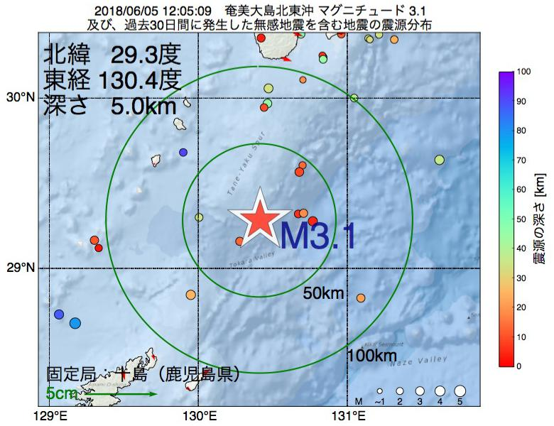 地震震源マップ:2018年06月05日 12時05分 奄美大島北東沖でM3.1の地震