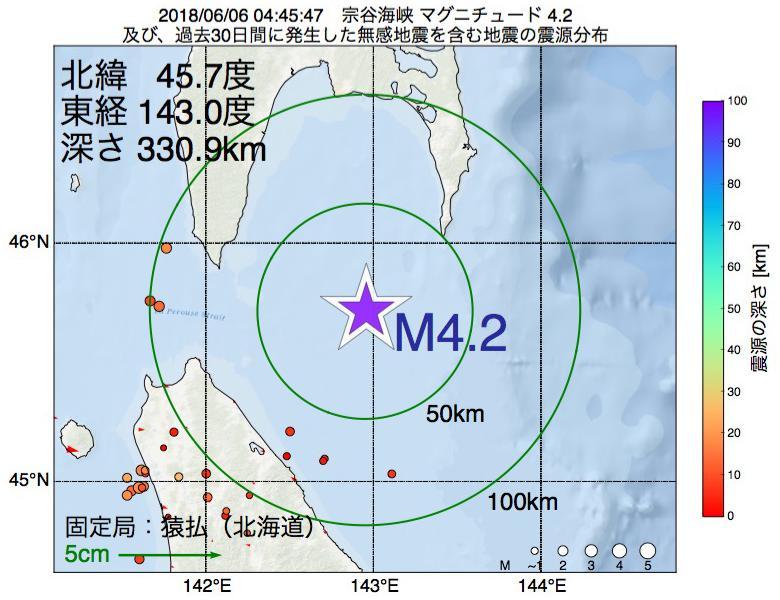 地震震源マップ:2018年06月06日 04時45分 宗谷海峡でM4.2の地震