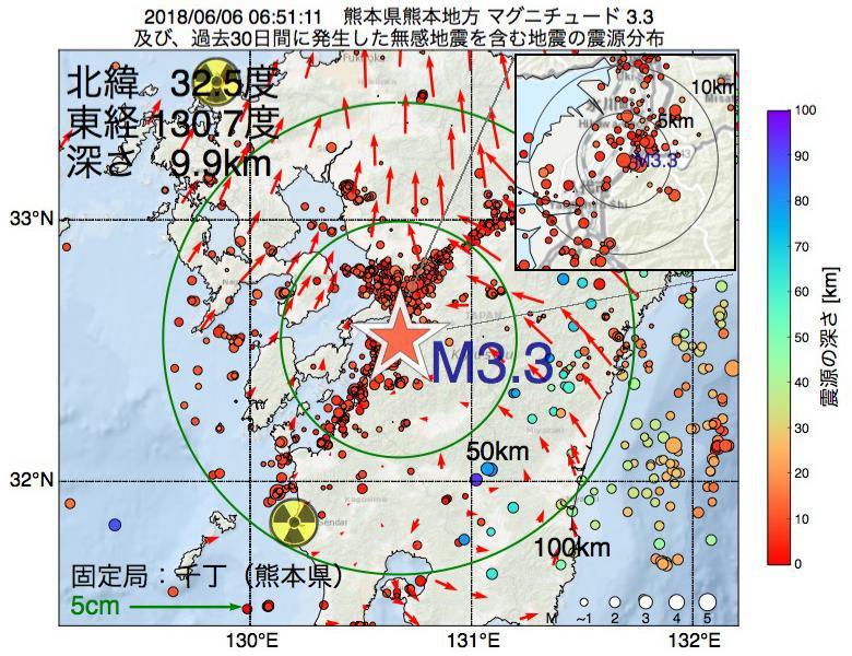 地震震源マップ:2018年06月06日 06時51分 熊本県熊本地方でM3.3の地震