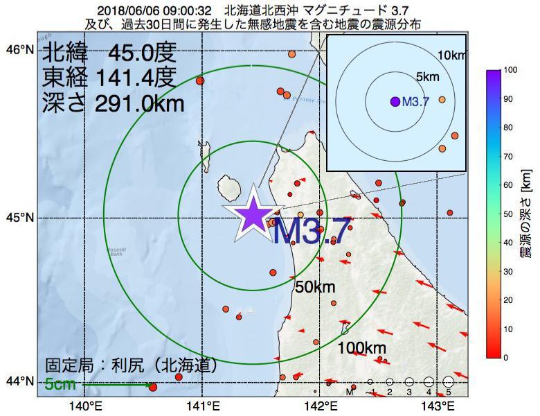 地震震源マップ:2018年06月06日 09時00分 北海道北西沖でM3.7の地震