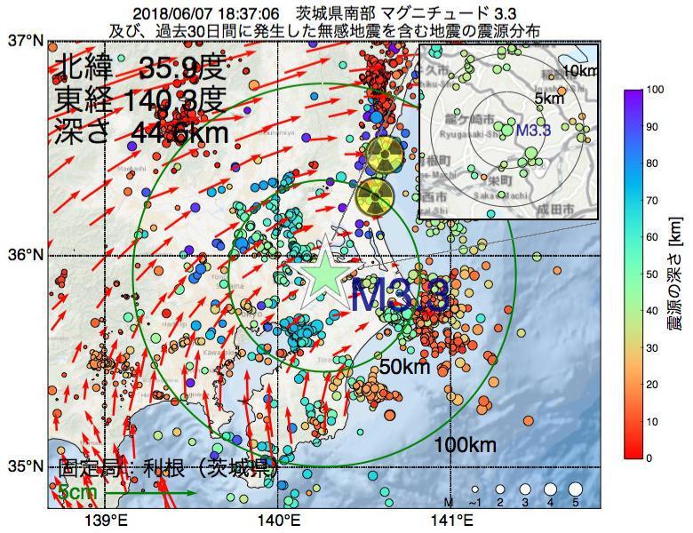 地震震源マップ:2018年06月07日 18時37分 茨城県南部でM3.3の地震