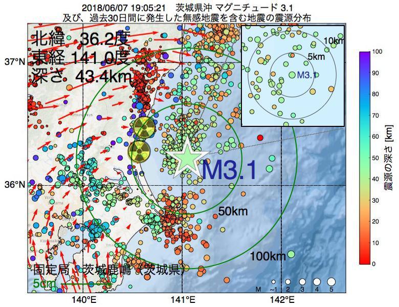 地震震源マップ:2018年06月07日 19時05分 茨城県沖でM3.1の地震