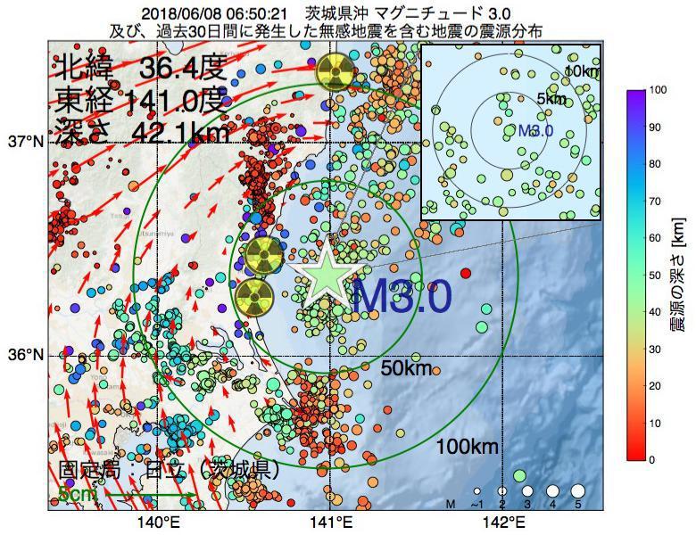 地震震源マップ:2018年06月08日 06時50分 茨城県沖でM3.0の地震