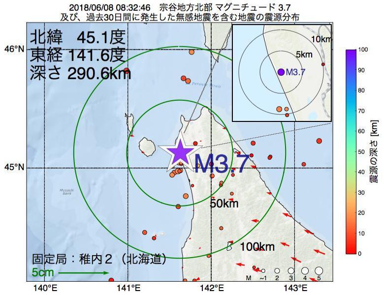 地震震源マップ:2018年06月08日 08時32分 宗谷地方北部でM3.7の地震
