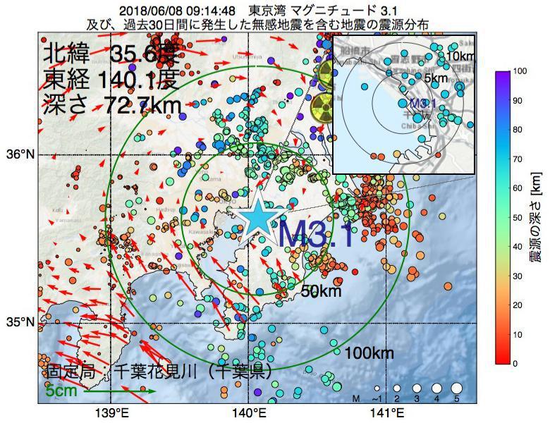 地震震源マップ:2018年06月08日 09時14分 東京湾でM3.1の地震