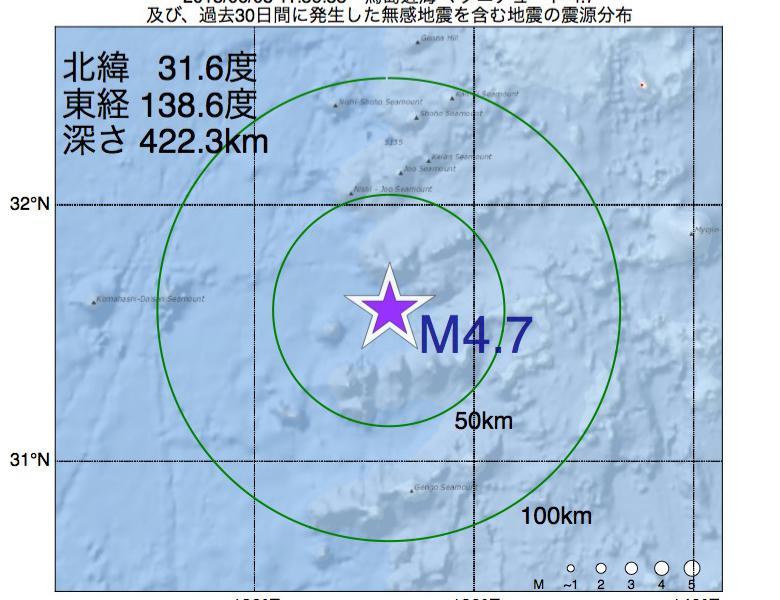 地震震源マップ:2018年06月08日 11時36分 鳥島近海でM4.7の地震