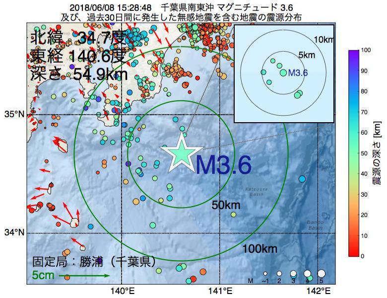 地震震源マップ:2018年06月08日 15時28分 千葉県南東沖でM3.6の地震