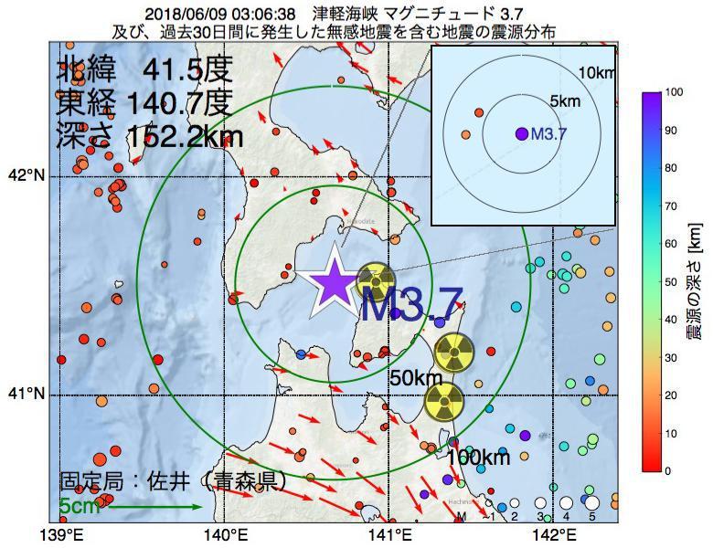 地震震源マップ:2018年06月09日 03時06分 津軽海峡でM3.7の地震