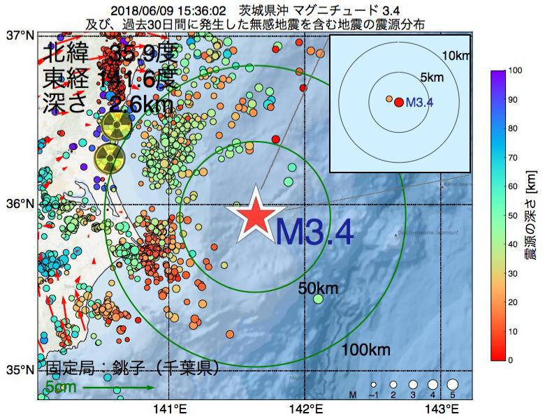 地震震源マップ:2018年06月09日 15時36分 茨城県沖でM3.4の地震