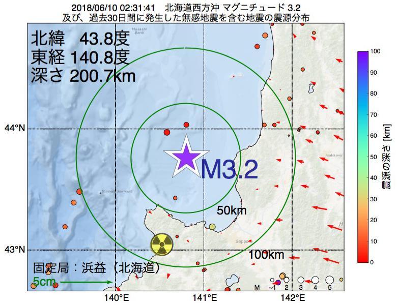 地震震源マップ:2018年06月10日 02時31分 北海道西方沖でM3.2の地震
