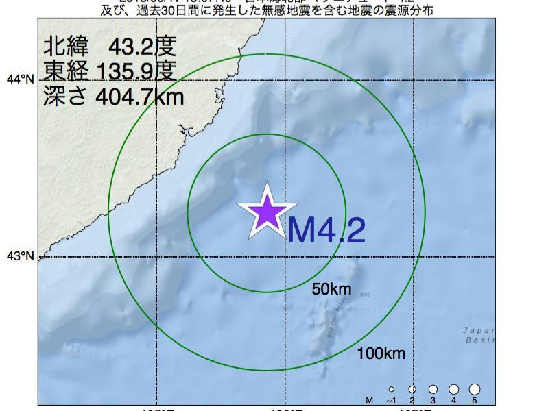 地震震源マップ:2018年06月11日 15時07分 日本海北部でM4.2の地震