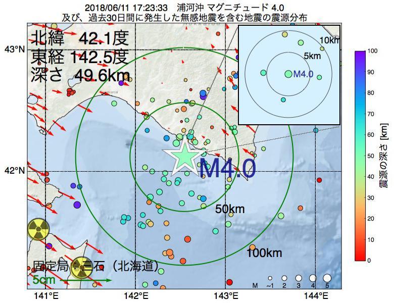 地震震源マップ:2018年06月11日 17時23分 浦河沖でM4.0の地震