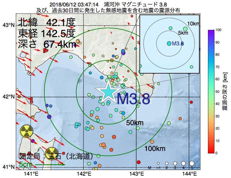 地震震源マップ:2018年06月12日 03時47分 浦河沖でM3.8の地震