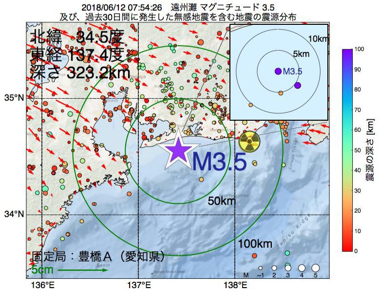 地震震源マップ:2018年06月12日 07時54分 遠州灘でM3.5の地震