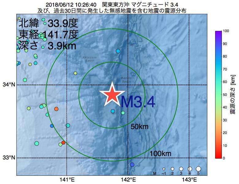 地震震源マップ:2018年06月12日 10時26分 関東東方沖でM3.4の地震