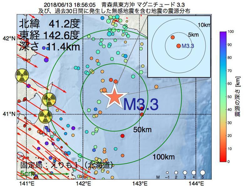 地震震源マップ:2018年06月13日 18時56分 青森県東方沖でM3.3の地震
